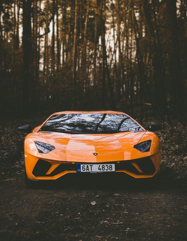 orange sports car in the woods with dark window tint